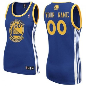Maillot NBA Bleu royal Authentic Personnalisé Golden State Warriors Road Femme Adidas