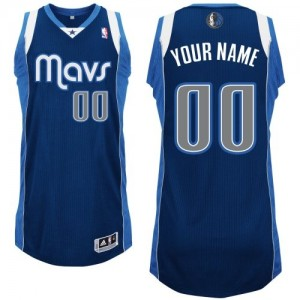 Maillot NBA Bleu marin Authentic Personnalisé Dallas Mavericks Alternate Homme Adidas