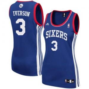 Maillot NBA Authentic Allen Iverson #3 Philadelphia 76ers Alternate Bleu royal - Femme