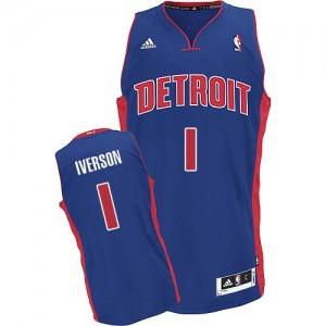 Maillot Adidas Bleu royal Road Swingman Detroit Pistons - Allen Iverson #1 - Homme