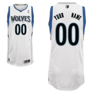 Maillot NBA Minnesota Timberwolves Personnalisé Authentic Blanc Adidas Home - Homme