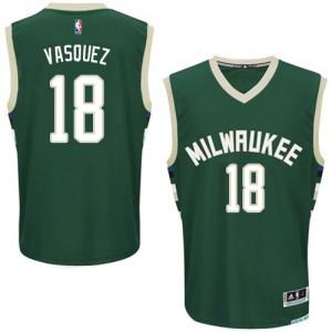 Maillot NBA Vert Greivis Vasquez #18 Milwaukee Bucks Road Authentic Homme Adidas