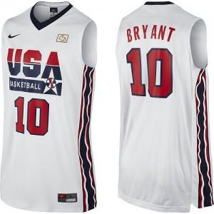 Maillots de basket Authentic Team USA NBA 2012 Olympic Retro Blanc - #10 Kobe Bryant - Homme