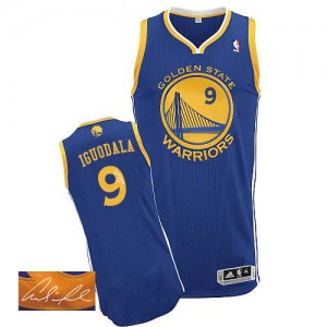 Maillot NBA Authentic Andre Iguodala #9 Golden State Warriors Road Autographed Bleu royal - Homme