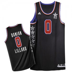 Maillot NBA Portland Trail Blazers #0 Damian Lillard Noir Adidas Authentic 2015 All Star - Homme