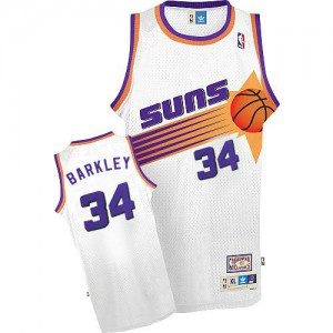 Maillot NBA Blanc Charles Barkley #34 Phoenix Suns Throwback Authentic Homme Mitchell and Ness