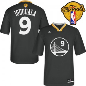 Maillot NBA Authentic Andre Iguodala #9 Golden State Warriors Alternate 2015 The Finals Patch Noir - Homme
