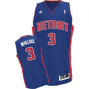 Maillot NBA Detroit Pistons #3 Ben Wallace Bleu royal Adidas Swingman Road - Homme