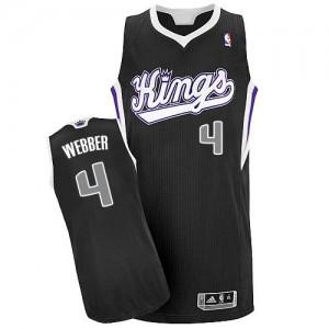Maillot NBA Sacramento Kings #4 Chris Webber Noir Adidas Authentic Alternate - Homme