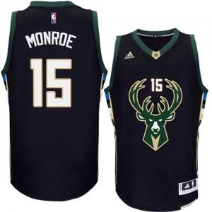 Maillot NBA Milwaukee Bucks #15 Greg Monroe Noir Adidas Authentic Alternate - Homme