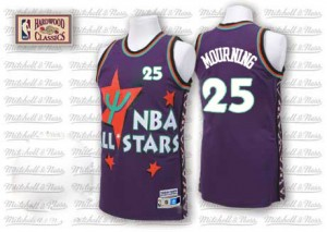 Maillot NBA Violet Alonzo Mourning #25 Charlotte Hornets Throwback 1995 All Star Authentic Homme Adidas