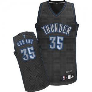 Maillot NBA Oklahoma City Thunder #35 Kevin Durant Noir Adidas Swingman Rhythm Fashion - Femme
