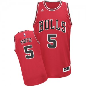 Maillot NBA Rouge Bobby Portis #5 Chicago Bulls Road Swingman Homme Adidas