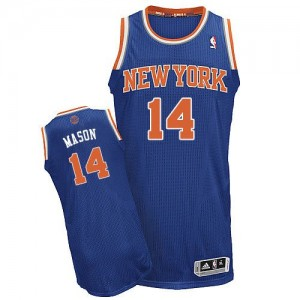 Maillot Adidas Bleu royal Road Authentic New York Knicks - Anthony Mason #14 - Homme