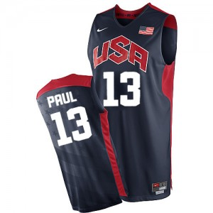 Maillot NBA Team USA #13 Chris Paul Bleu marin Nike Authentic 2012 Olympics - Homme