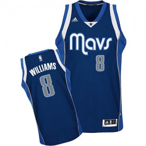 Maillot NBA Dallas Mavericks #8 Deron Williams Bleu marin Adidas Swingman Alternate - Femme