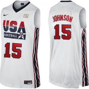 Maillot NBA Blanc Magic Johnson #15 Team USA 2012 Olympic Retro Authentic Homme Nike