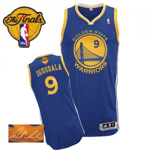 Golden State Warriors Andre Iguodala #9 Road Autographed 2015 The Finals Patch Authentic Maillot d'équipe de NBA - Bleu royal pour Homme