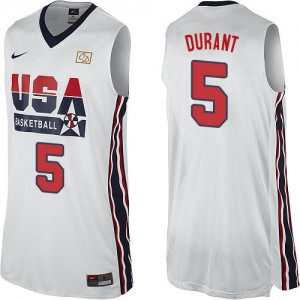 Maillot Nike Blanc 2012 Olympic Retro Swingman Team USA - Kevin Durant #5 - Homme