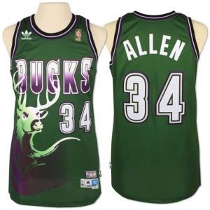 Maillot NBA Vert Giannis Antetokounmpo #34 Milwaukee Bucks New Throwback Authentic Homme Adidas
