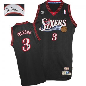 Philadelphia 76ers #3 Adidas 1997-2009 Throwback Autographed Noir Authentic Maillot d'équipe de NBA Vente pas cher - Allen Iverson pour Homme
