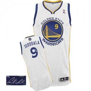 Maillot NBA Authentic Andre Iguodala #9 Golden State Warriors Home Autographed Blanc - Homme