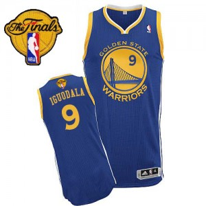 Maillot NBA Golden State Warriors #9 Andre Iguodala Bleu royal Adidas Authentic Road 2015 The Finals Patch - Homme