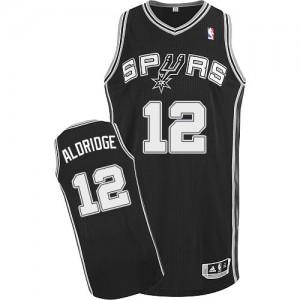 Maillot NBA Noir LaMarcus Aldridge #12 San Antonio Spurs Road Authentic Homme Adidas