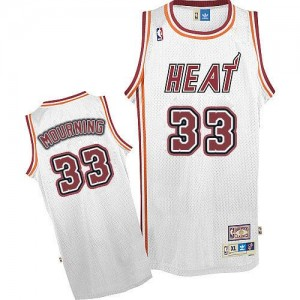 Maillot Adidas Blanc Throwback Authentic Miami Heat - Alonzo Mourning #33 - Homme