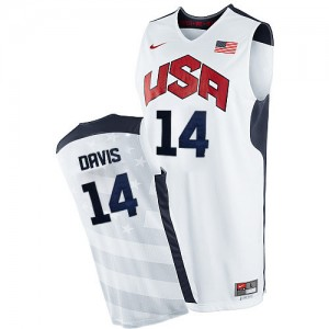 Maillot NBA Blanc Anthony Davis #14 Team USA 2012 Olympics Authentic Homme Nike