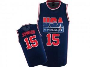 Maillot NBA Bleu marin Magic Johnson #15 Team USA 2012 Olympic Retro Swingman Homme Nike