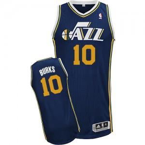 Utah Jazz Alec Burks #10 Road Authentic Maillot d'équipe de NBA - Bleu marin pour Homme