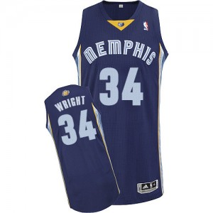 Memphis Grizzlies Brandan Wright #34 Road Authentic Maillot d'équipe de NBA - Bleu marin pour Homme