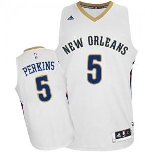 New Orleans Pelicans #5 Adidas Home Blanc Authentic Maillot d'équipe de NBA Remise - Kendrick Perkins pour Homme