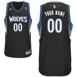 Maillot NBA Minnesota Timberwolves Personnalisé Swingman Noir Adidas Alternate - Enfants