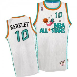 Phoenix Suns #10 Mitchell and Ness Throwback 1996 All Star Blanc Authentic Maillot d'équipe de NBA 100% authentique - Charles Barkley pour Homme