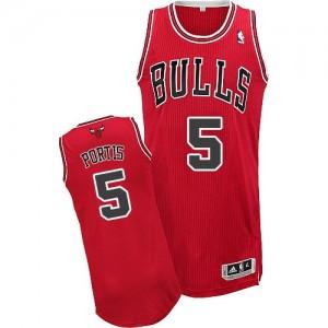 Chicago Bulls Bobby Portis #5 Road Authentic Maillot d'équipe de NBA - Rouge pour Homme