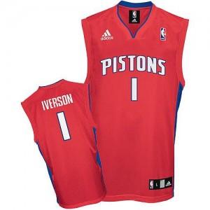 Maillot Adidas Rouge Swingman Detroit Pistons - Allen Iverson #1 - Homme