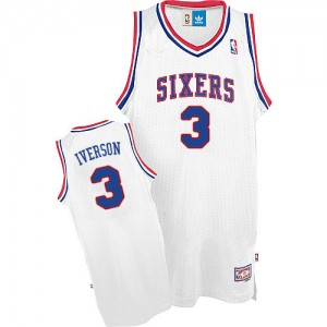 Philadelphia 76ers Allen Iverson #3 Throwack Authentic Maillot d'équipe de NBA - Blanc pour Homme
