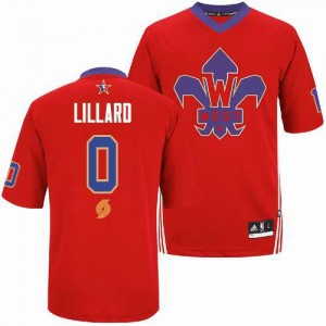 Maillot NBA Rouge Damian Lillard #0 Portland Trail Blazers 2014 All Star Authentic Homme Adidas