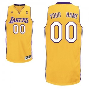 Maillot NBA Or Swingman Personnalisé Los Angeles Lakers Home Homme Adidas