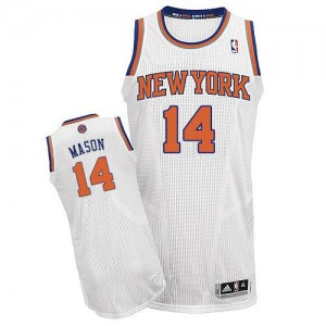 Maillot Authentic New York Knicks NBA Home Blanc - #14 Anthony Mason - Homme