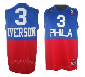 Maillot NBA Swingman Allen Iverson #3 Philadelphia 76ers 10TH Throwback Rouge Bleu - Homme