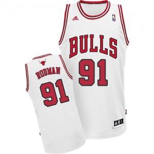 Chicago Bulls #91 Adidas Home Blanc Swingman Maillot d'équipe de NBA 100% authentique - Dennis Rodman pour Homme