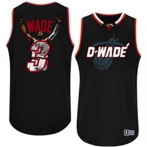 Maillot NBA Miami Heat #3 Dwyane Wade Noir Majestic Swingman Athletic Notorious Fashion - Homme