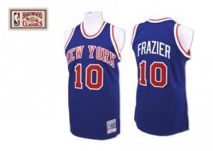 Maillot NBA New York Knicks #10 Walt Frazier Bleu royal Mitchell and Ness Swingman Throwback - Homme