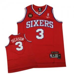 Maillot Swingman Philadelphia 76ers NBA Throwback 10TH Rouge - #3 Allen Iverson - Homme