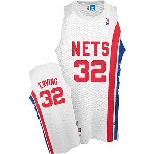 Maillot NBA Brooklyn Nets #32 Julius Erving Blanc Adidas Authentic Throwback ABA Retro - Homme