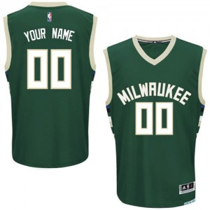 Maillot NBA Authentic Personnalisé Milwaukee Bucks Road Vert - Homme