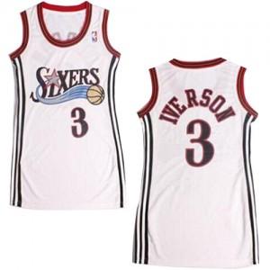 Maillot NBA Blanc Allen Iverson #3 Philadelphia 76ers Dress Authentic Femme Adidas